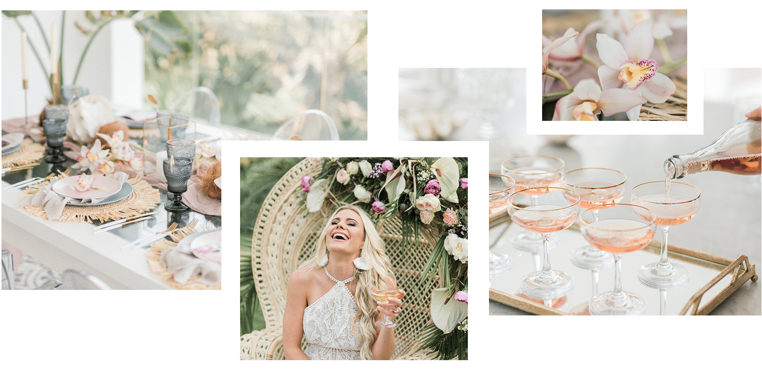 Oh Happy Day collage of happy bride, tablescape, pink champagne and orchids