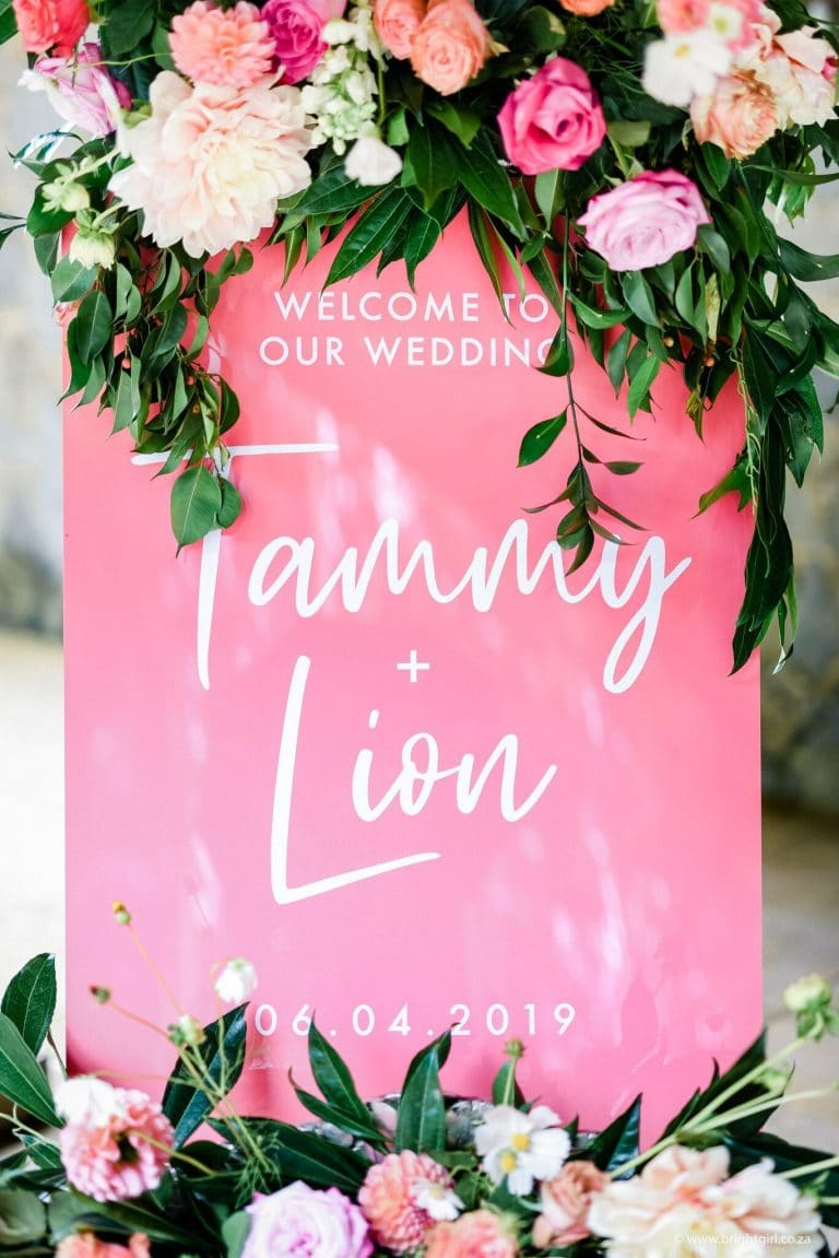 pink-and-floral-wedding-welcome-sign