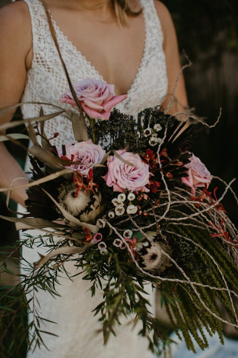 boho-wedding-bouquet-with-garden-roses-proteas-and-foliage