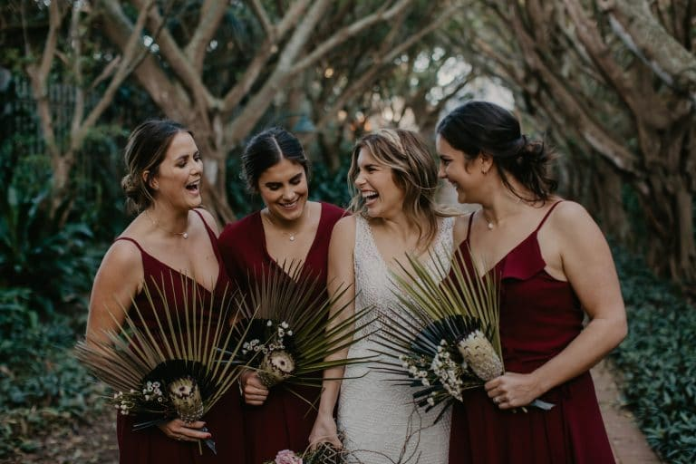 bridesmaids-in-mismatched-red-dresses