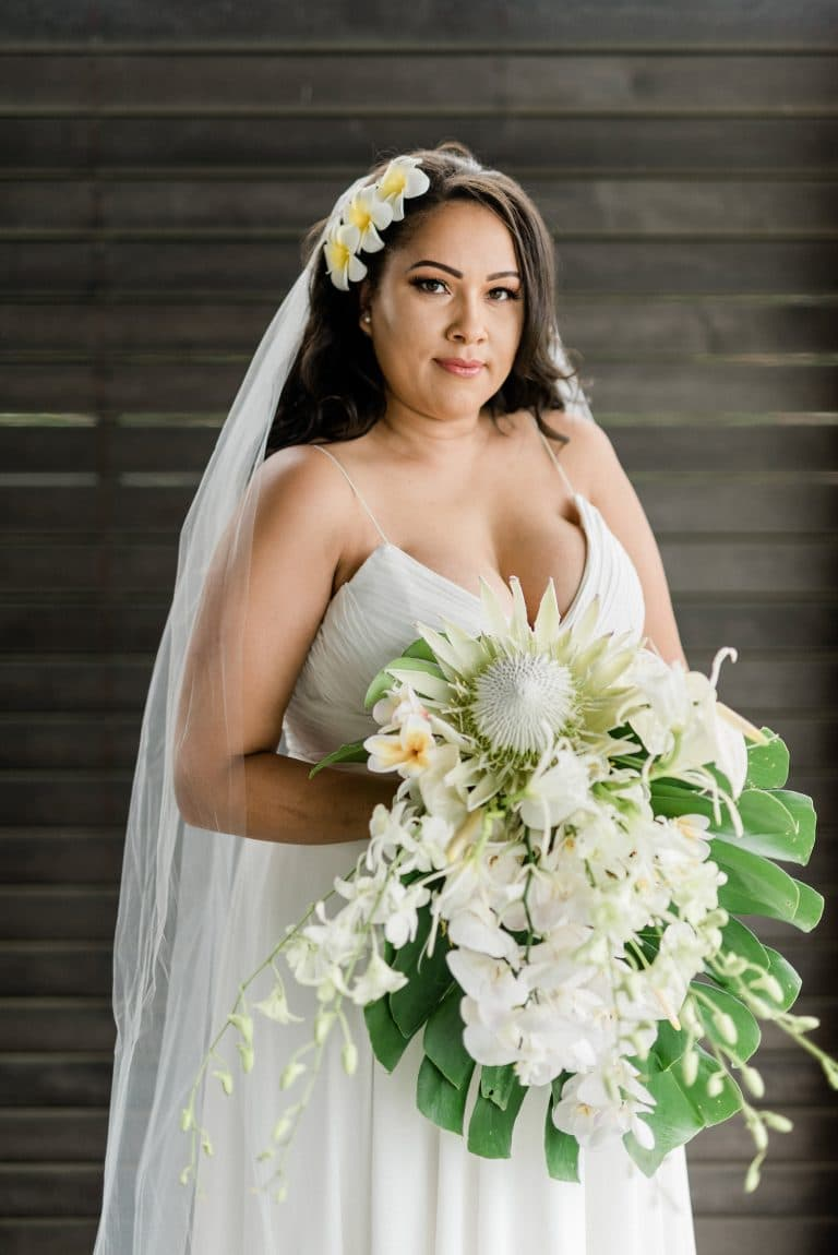 protea-orchid-frangipani-tropical-bridal-bouquet