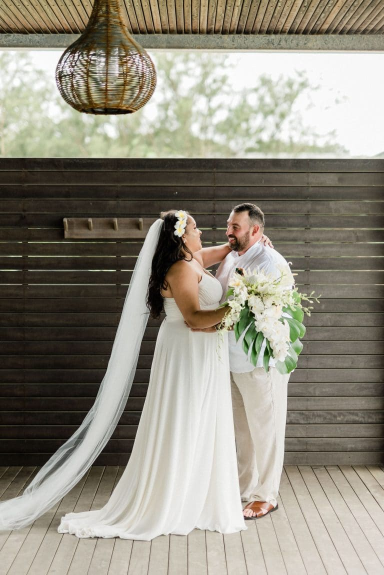 tropical-chic-wedding-first-look-couple