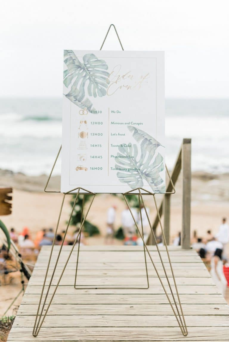 tropical-beach-wedding-watercolor-monstera-leaf-signage