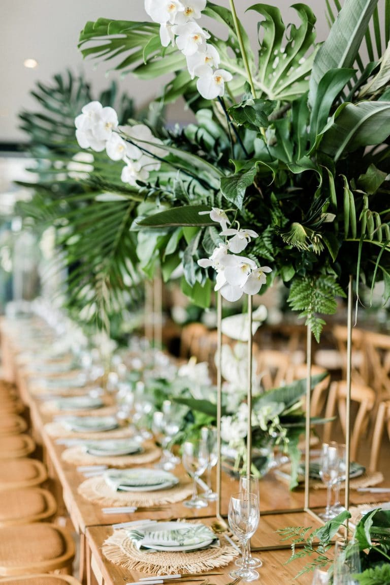 tropical-greenery-orchid-centrepiece