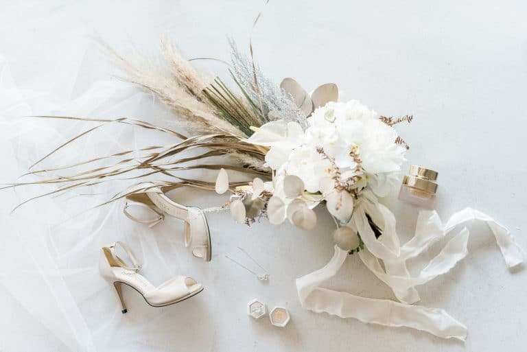 pampas and white peony bouquet