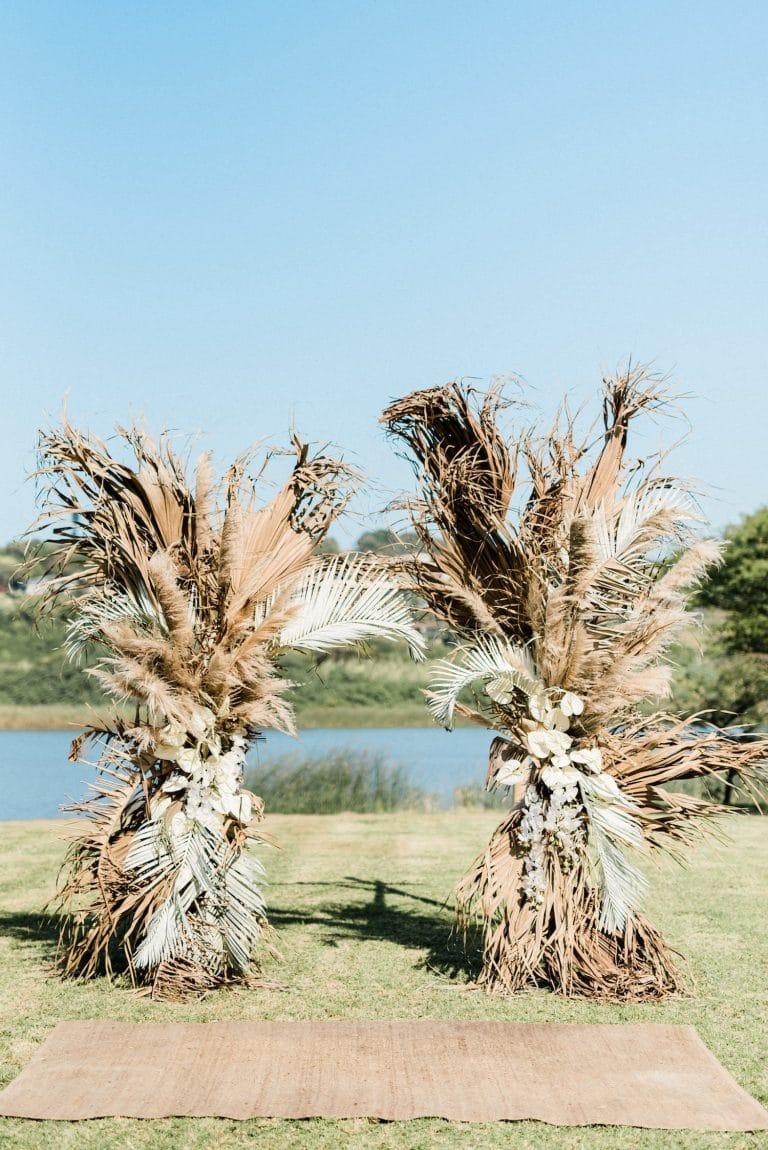 dried foliage boho wedding arch