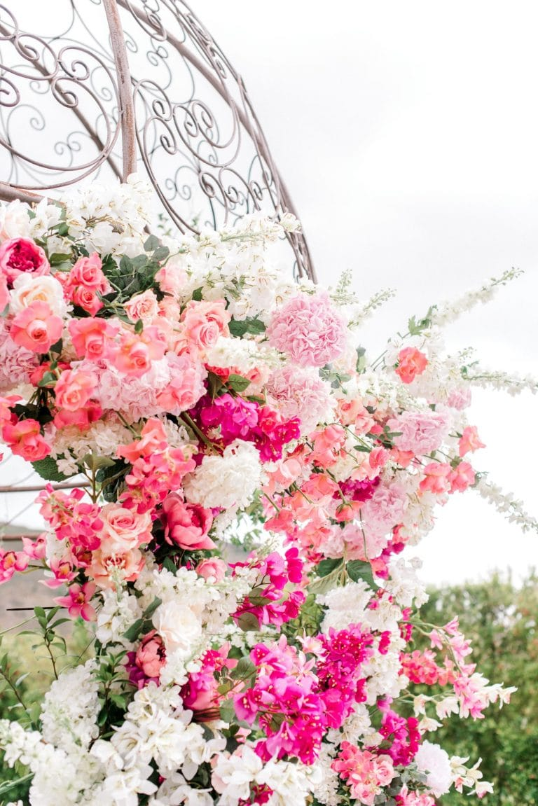 shades of pink floral arch