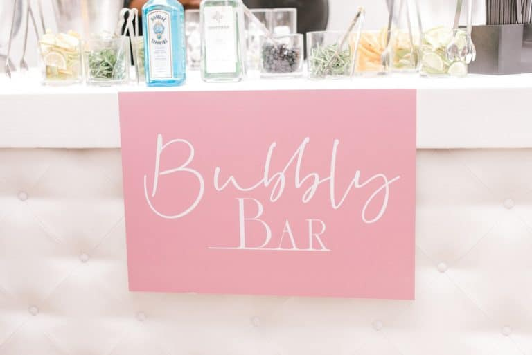 summer wedding bubbly bar sign