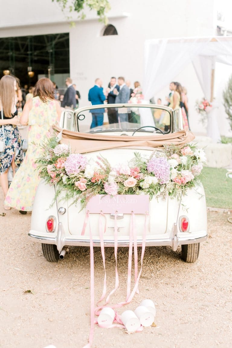 morris minor wedding getaway car