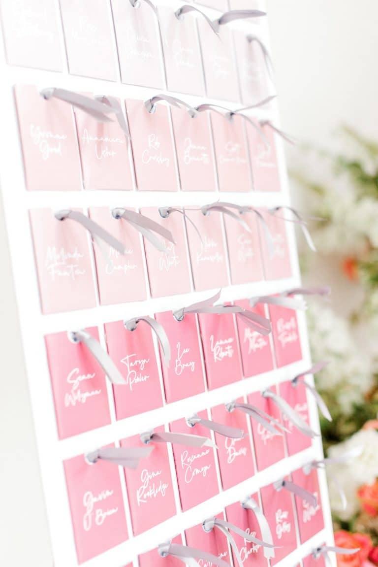 pink ombre wedding escort card display