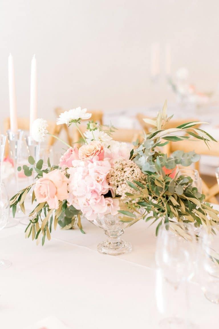 shades of pink wedding centerpiece