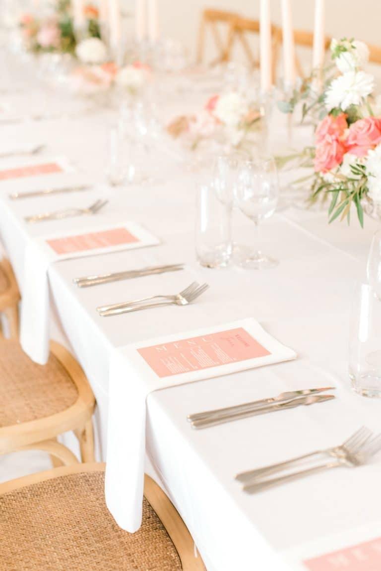 pink menu cards for summer wedding