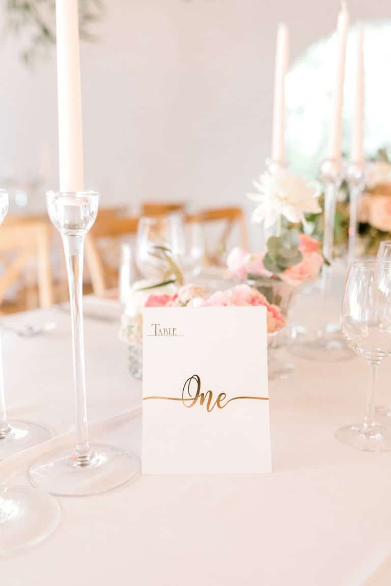 gold foil table number card