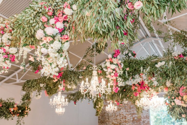 hanging foliage and flowers wedding reception