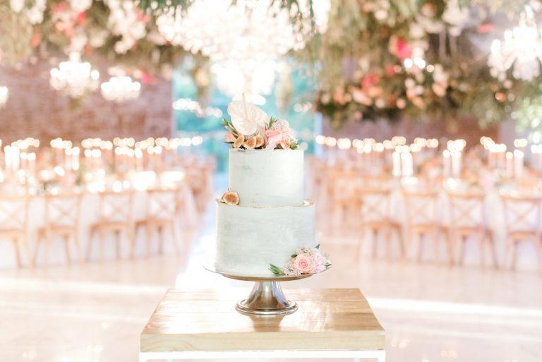 pastel blue and pink wedding cake