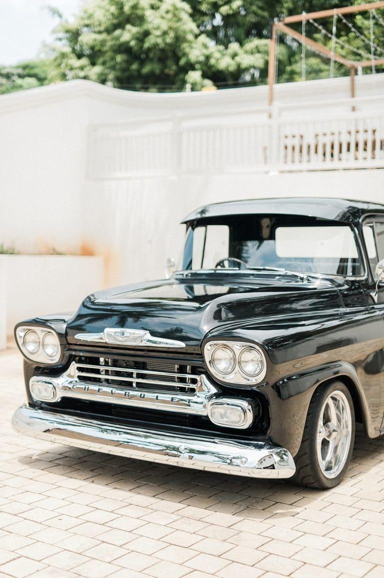 vintage car for at-home wedding