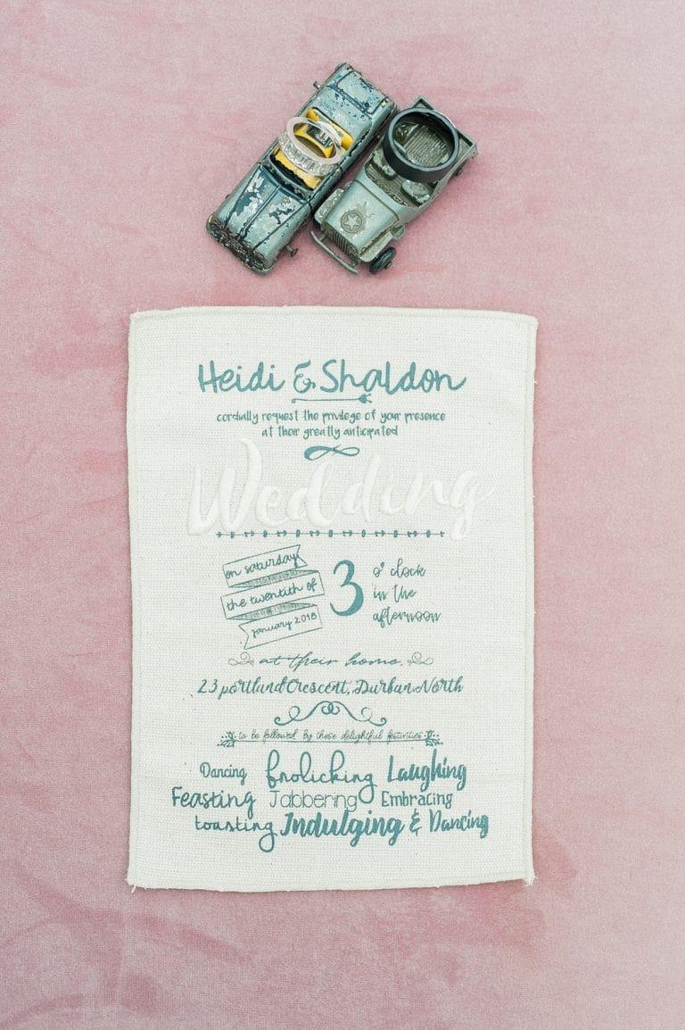 fabric wedding invitation