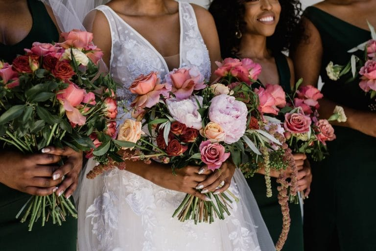 pink coral red rose bouquets