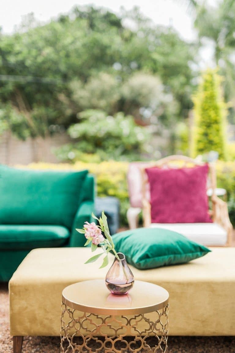 colourful velvet seating for at-home wedding