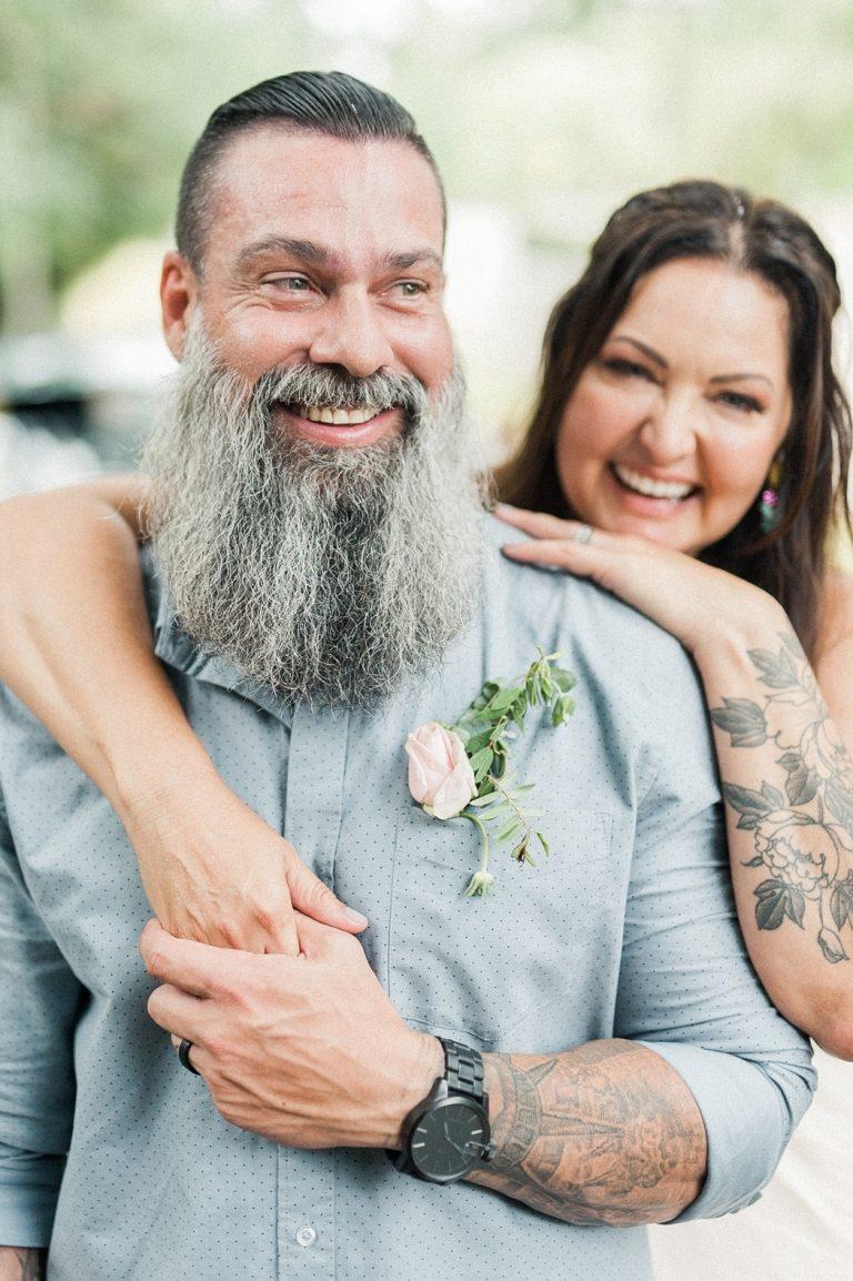 tattooed bride and groom