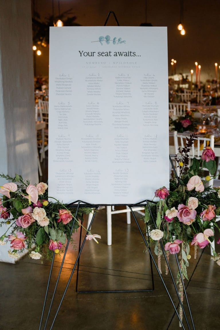colourful wedding seating chart