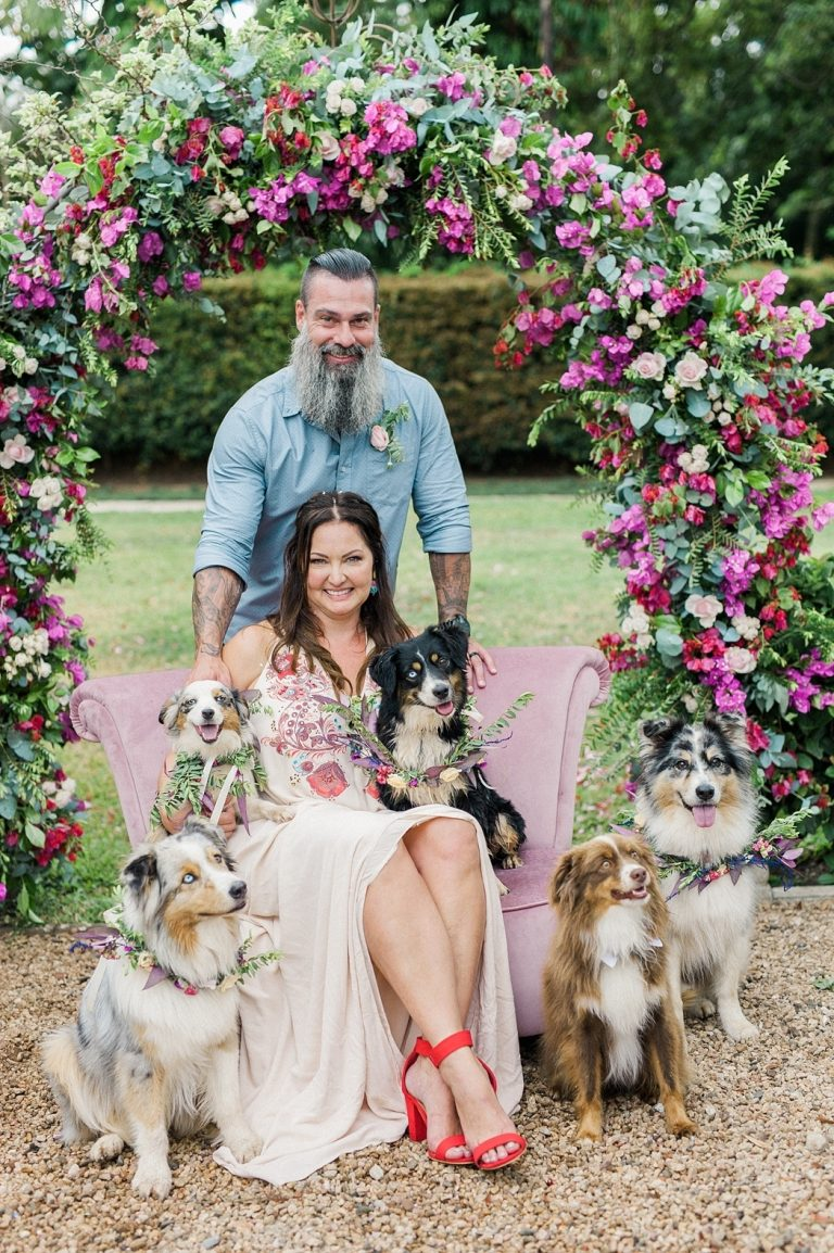 bride and groom with dog attendants