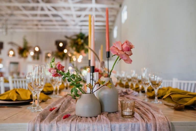 colourful taper candles wedding décor