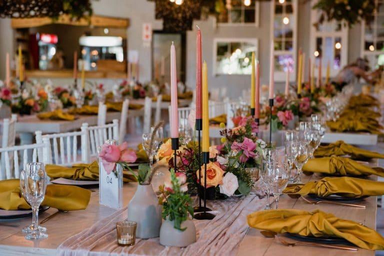 the groves wedding table décor