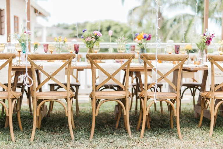 outdoor tables for at-home wedding