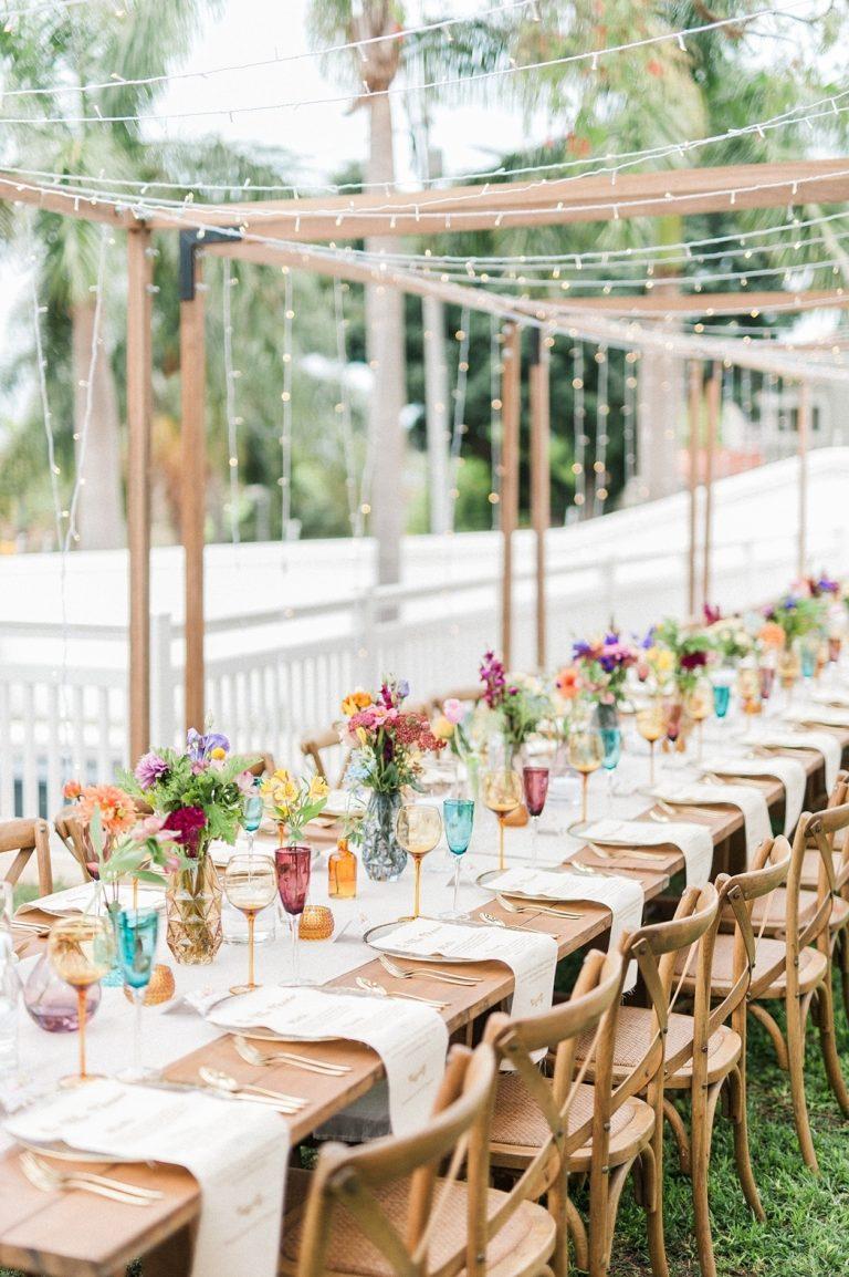wooden pagodas at-home wedding