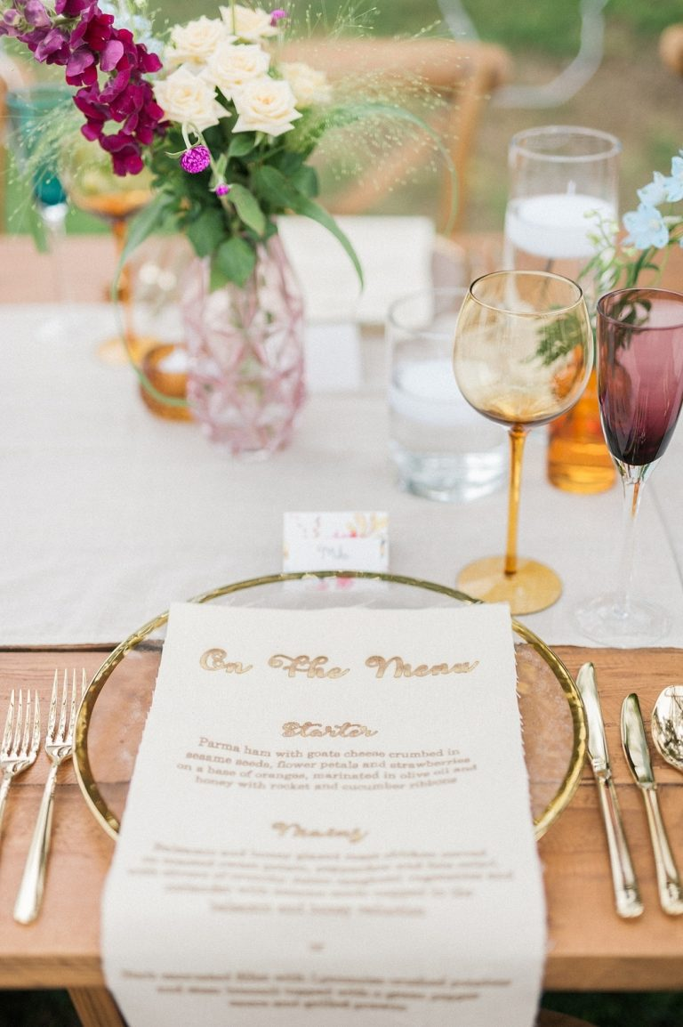 at-home wedding place setting with fabric menu
