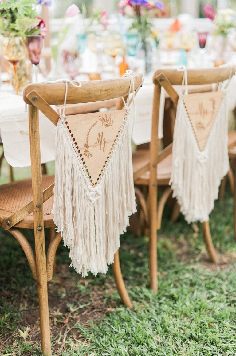 macramé mr and mrs chair signs