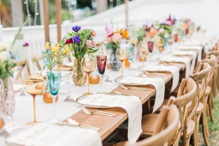 colourful table décor for at-home garden wedding