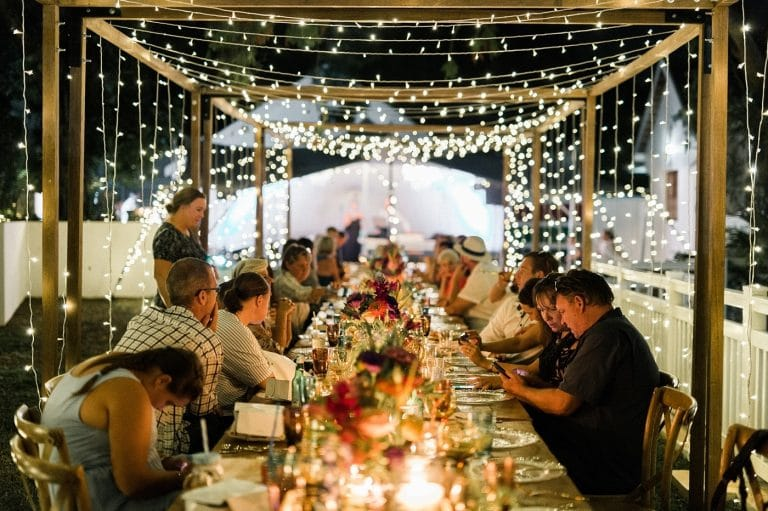 at-home wedding tables with fairy lights